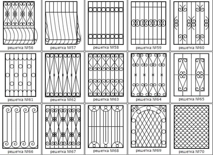 Эскизы металлических решеток на окна 3